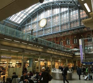 At St. Pancras Station getting ready to leave London